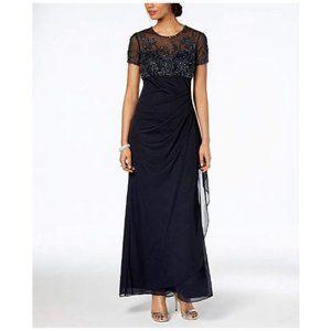 Xscape Petite Beaded Illusion Gown Navy Size 14P